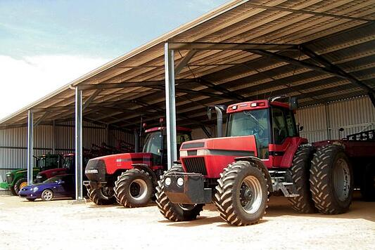 Large farming equipment taking up significant storage space