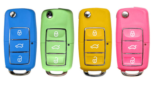 Coloured keys representing the choice of different used cars to buy